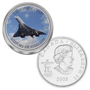 """Kanada 25 Cent mit Farbmotiv """"Luftfahrtgeschichte - Concorde"""""""