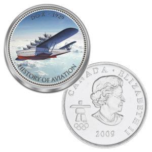 """Kanada 25 Cent mit Farbmotiv """"Luftfahrtgeschichte - Do X"""""""