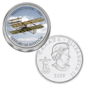 """Kanada 25 Cent mit Farbmotiv """"Luftfahrtgeschichte - Wright Flyer"""""""