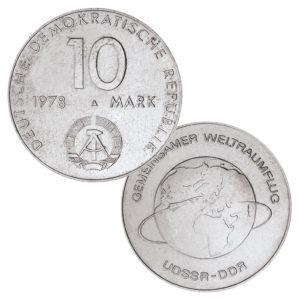 DDR, 10 Mark 1978 Gemeinsamer Weltraumflug UdSSR-DDR, Neusilber (CuZnNi), 12g, Ø 31mm, Prägestätte A (Berlin), Auflage: 752.075 (Exportqualität: 32.075, PP: 2.600), Jaeger-Nr. 1568