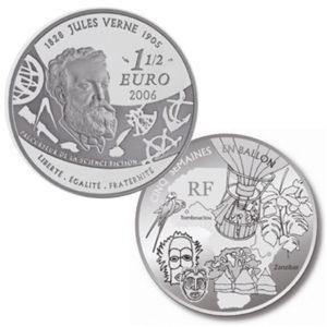 """Frankreich 1,5 Euro 2006 """"100. Todestag Jules Verne - Motiv: Fünf Wochen im Ballon"""""""