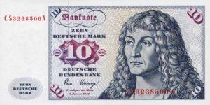 BRD 10 Mark 1980 Vorderseite (Motiv: Bildnis eines jungen Mannes von Albrecht Dürer oder Anton Neupauer)