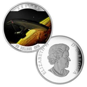 """Kanada 20 CAN$ 2016 """"U.S.S. Enterprise"""", 999,9er Silber, 1 Unze (31,39g), Ø 38 mm Durchmesser, im Etui mit Echtheitszertifikat, Polierte Platte, Auflage: 11.500"""