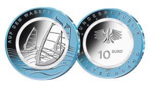BRD 10 Euro Polymerring Münze Auf dem Wasser 2021