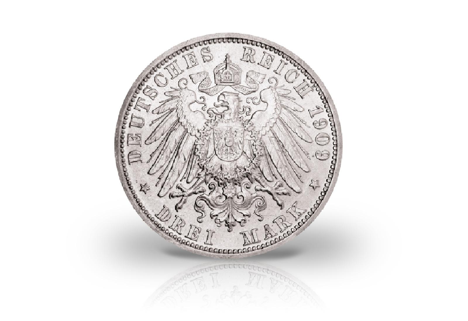 Kaiserreich 3 Mark 1909 A Friedrich Ii Herzogtum Anhalt Herzogtum