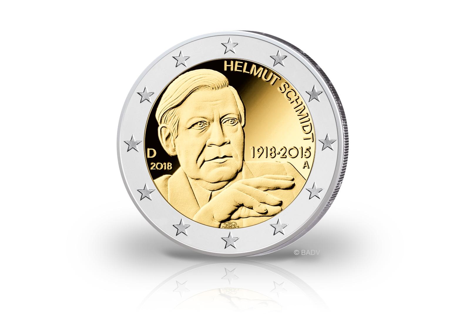 Brd 2 Euro Gedenkmünze Helmut Schmidt Prägestätte A 2018 Jahrgang