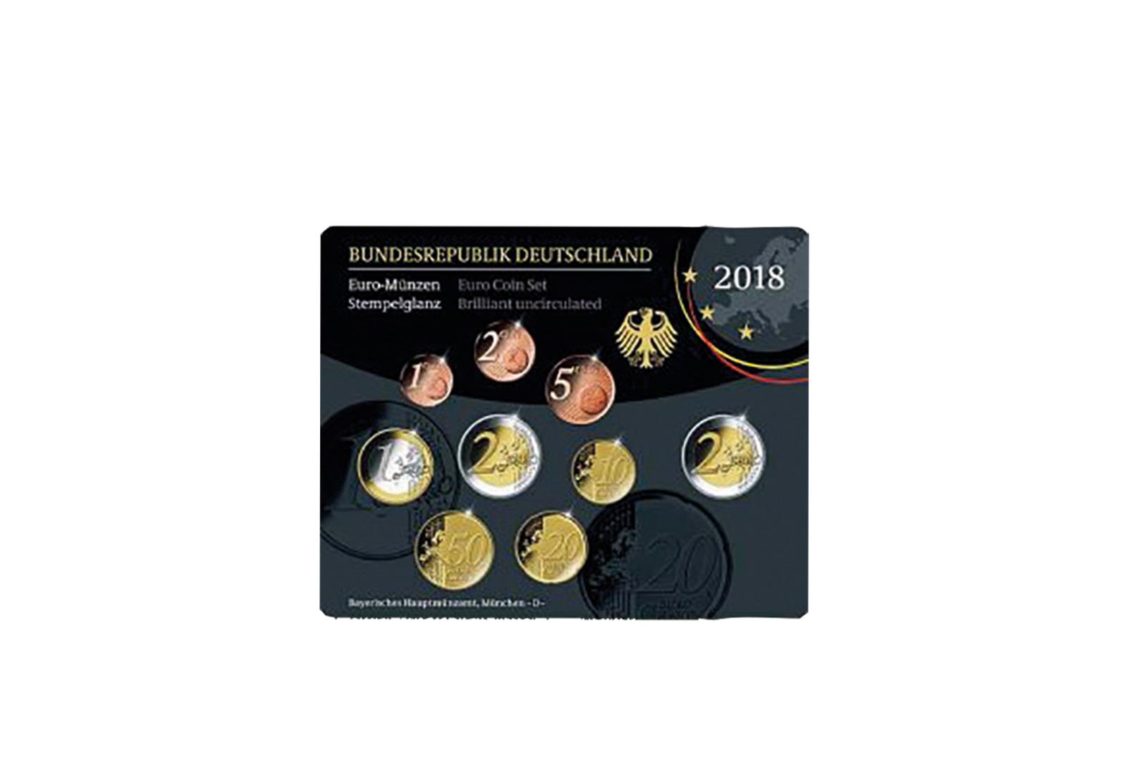 Brd Kursmünzensatz 2018 St Prägestätte D München Euro