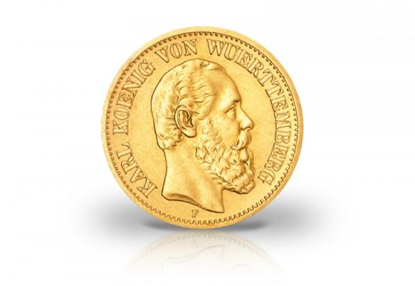 Württemberg 20 Mark Goldmünze 1874 1876 König Karl Von Württemberg