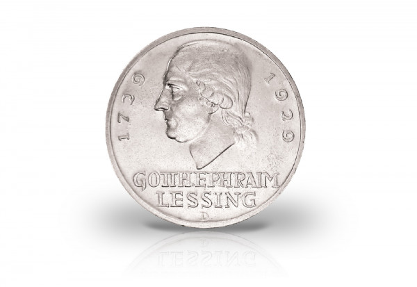 3 Reichsmark Silbermünze 1929 Weimarer Republik Gotthold Ephraim Lessing Jaeger-Nr. 335