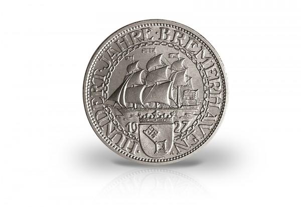 Weimar Republik 5 Reichsmark Silbermünze 100 Jahre Bremerhaven 1927