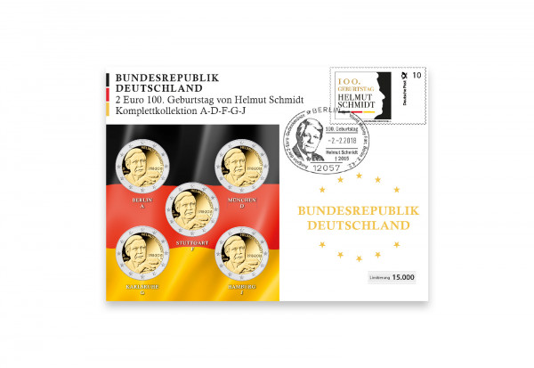 BRD Numisbrief Helmut Schmidt 2018 Komplettkollektion - Prägestätte A-J
