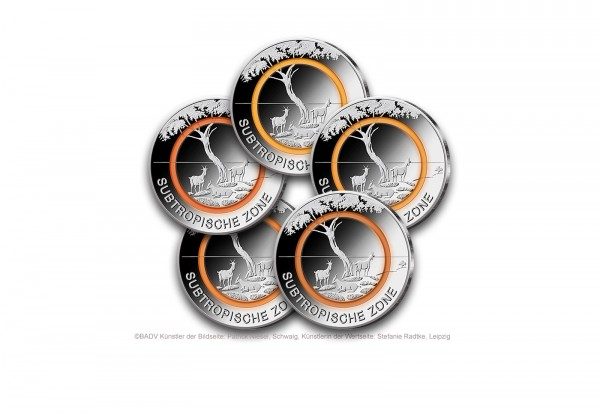 Brd 5 Euro Pp 2018 Subtropische Zone Mit Polymerring Orange