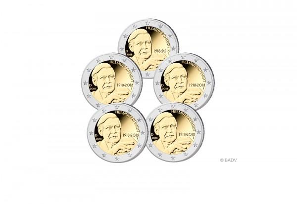 Brd 2 Euro Gedenkmünze 2018 Bankfrisch Helmut Schmidt Im Set