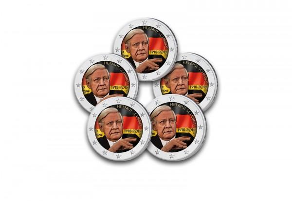 Brd 2 Euro Gedenkmünze Helmut Schmidt Mit Set Prägestätten A J Mit