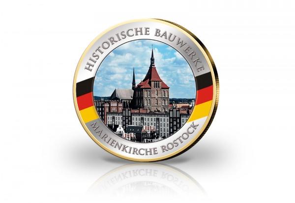 2 Euro Marienkirche Rostock mit 24 Karat Goldauflage und Farbmotiv