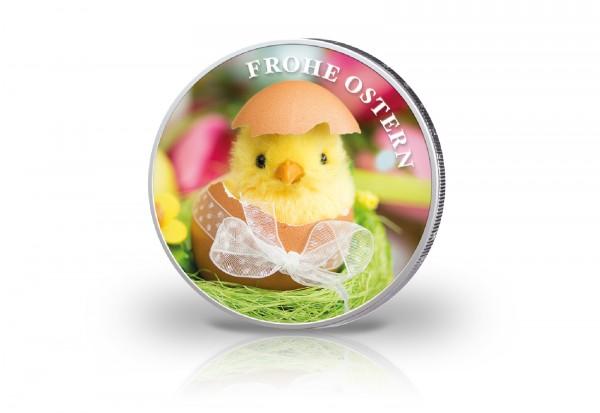 2 Euro Motiv Ostern mit Farbapplikation