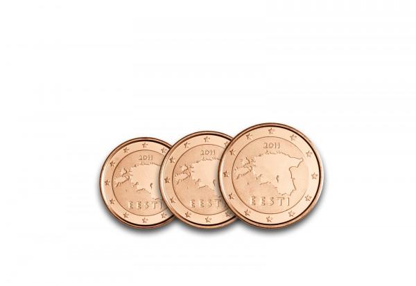 Estland 1, 2 und 5 Cent 2011