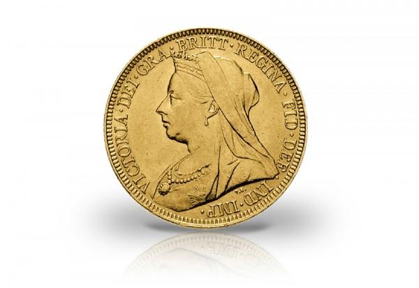 Großbritannien 1 Sovereign Gold Victoria mit Witwenschleier 1893-1901
