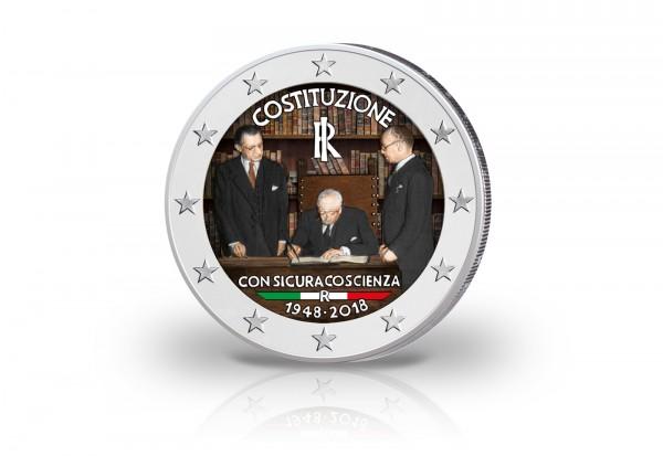 Italien 2 Euro 2018 Farbe 70 Jahrestag Der Italienischen Verfassung