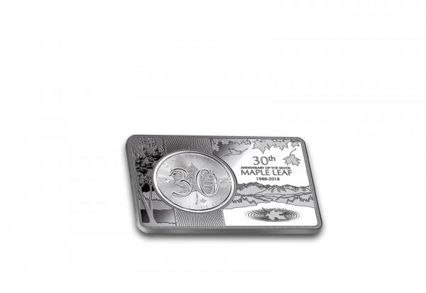Münzbarren 1 oz inkl. Jubiläumsmünze 30 Jahre Maple Leaf Kanada