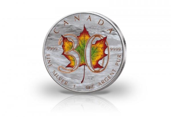 Maple Leaf 1 oz Silber 2018 Kanada 30 Jahre Jubiläum veredelt mit Farbapplikation