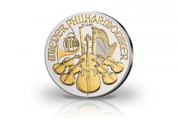 Wiener Philharmoniker 1 oz Silber 2019 Österreich veredelt mit 24 Karat Goldapplikation