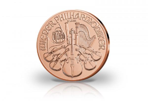 Wiener Philharmoniker 1 oz Silber 2019 Österreich veredelt mit Rotgold