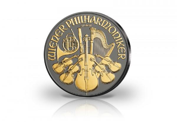 Wiener Philharmoniker 1 oz Silber 2019 Österreich mit Ruthenium und 24 Karat Goldapplikation