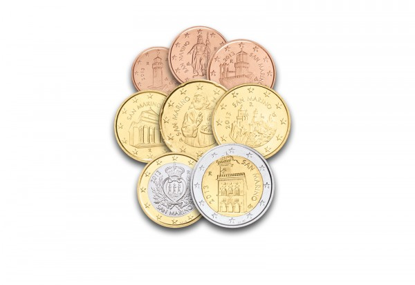 San Marino Eurosatz 2013 Stempelglanz 1 Cent Bis 2 Euro San Marino