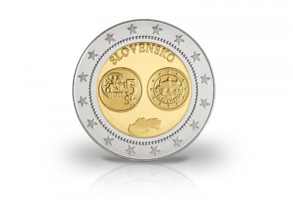 Slowakei Bimetallprägung Euroeinführung Gedenkprägung Bratislawa