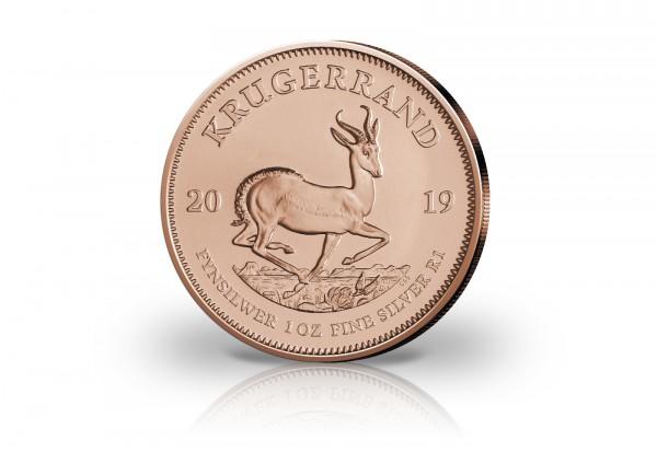 Krügerrand 1 oz Silber 2019 Südafrika veredelt mit Rotgold