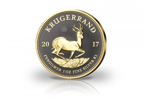 Krügerrand 1 oz Silber 2017 Südafrika 50 Jahre veredelt mit Ruthenium und 24 Karat Goldapplikation