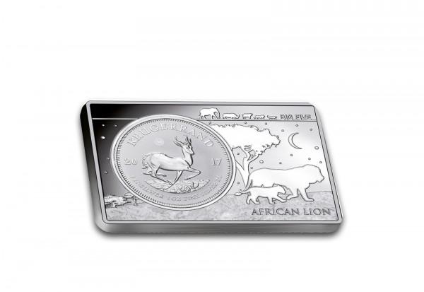 Krügerrand 1 oz Silber 2017 Südafrika 50 Jahre Jubiläum eingefasst in einem Barren
