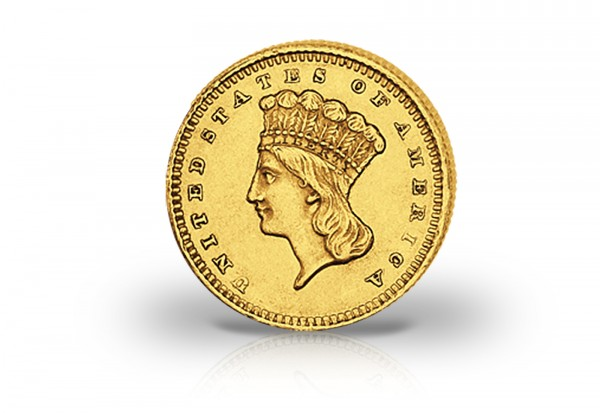 Usa 1 Dollar Goldmünze 1856 1889 Typ Large Indian Head Gold