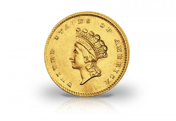Usa 1 Dollar Goldmünze 1854 1856 Ss Small Indian Head Gold