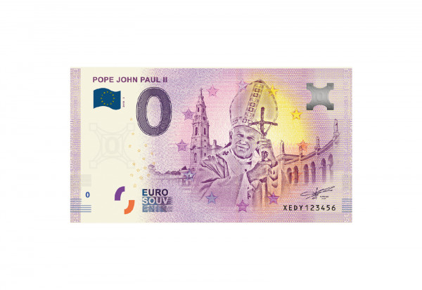 0 Euro Souvenir Banknote Vatikan Papst Johannes Paul Ii