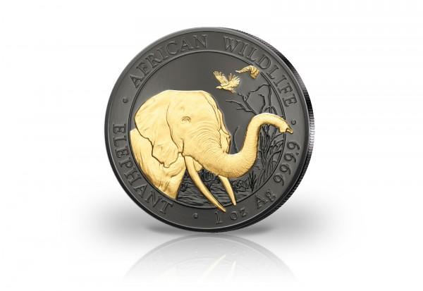 Somalia 1 Unze Silbermünze 2018 African Wildlife - Der Elefant mit Gold und Schwarzruthenium