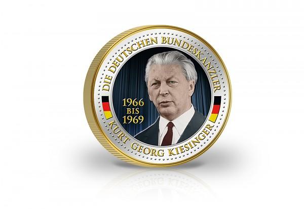 2 Euro Gedenkausgabe Kurt Georg Kiesinger Bundeskanzler Mit Gold