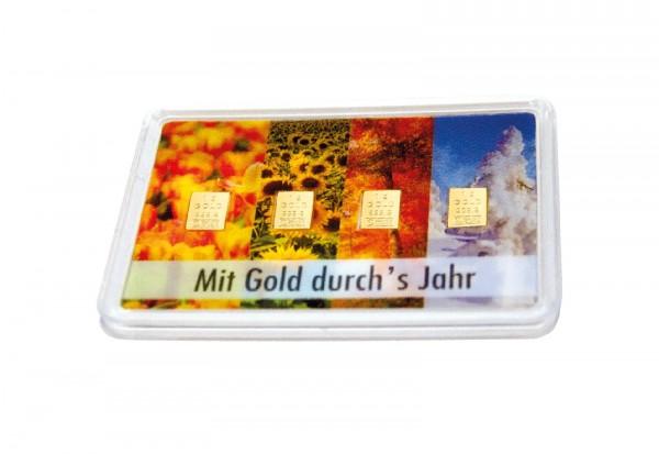 Goldbarren - Mit Gold durchs Jahr 4x 1g im Blister
