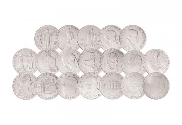 Komplettset östereich 25 Schilling Silber 1955 1973 Vor Euro