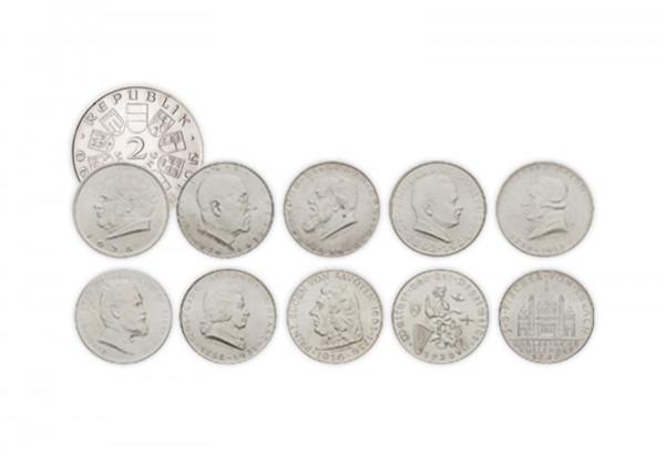 österreich 10x 2 Schilling Silbermünze 1928 Bis 1937