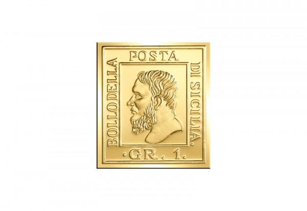 Berühmteste Briefmarken der Welt Goldfolienprägung - Sizilien 1 Grana mit Goldauflage