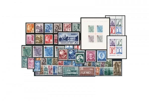 Französische Zone Baden komplett postfrisch Mi.Nr. 1-57 + 3 Blocks