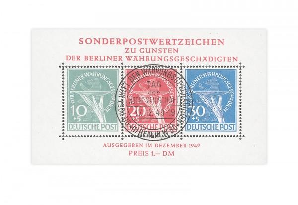 Berlin Währungsgeschädigten-Block 1 1949 gestempelt geprüft