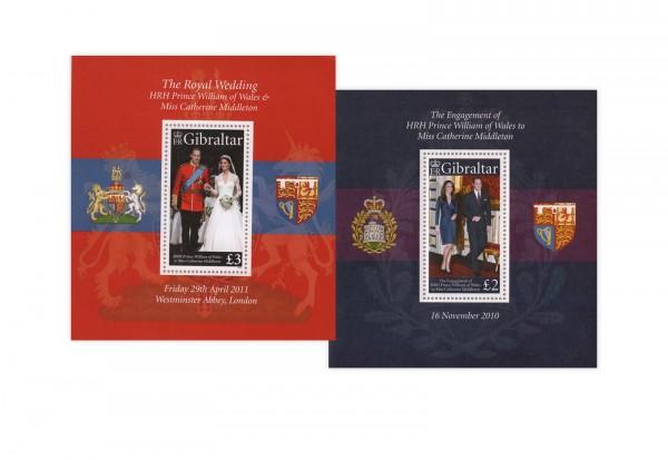 Gibraltar William und Kate Verlobungs- und Hochzeitsblock Block 98 und 101 postfrisch